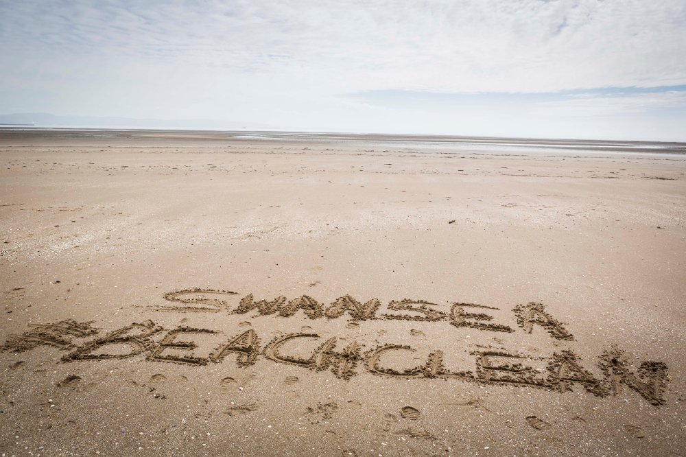 The Marks and Spencer Big Beach Clean Up in Swansea Bay.